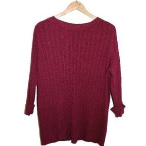 Alia Plus | Cable knit burgundy sweater